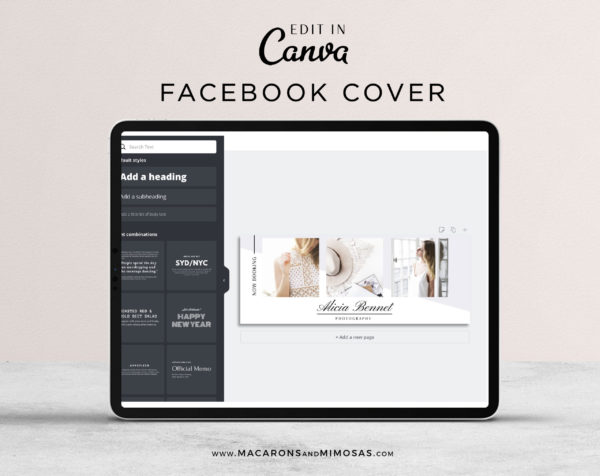 Photography Facebook Timeline College Template, Canva Blog Header Collage, Wedding Photographer Social Media Banner Cover Design