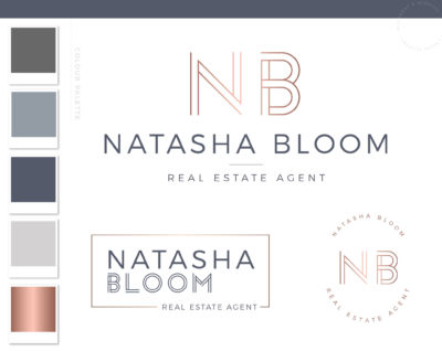 Simple Real Estate Agent Logo, Rose gold copper logo, Shop Logo, Real Estate Business Logo, Modern Realtor Logo, House Logo Design, realtor watermark, DIY Branding