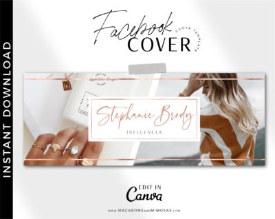 Rose gold facebook banner for Canva, Facebook cover template, Facebook Timeline Template, Custom Photographer Facebook Cover