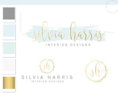 Watercolor Logo Design, Gold Logo,Logo Design, Branding kit, Calligraphy Branding Package, stamp, Photography Logo, Watermark, Modern Logo
