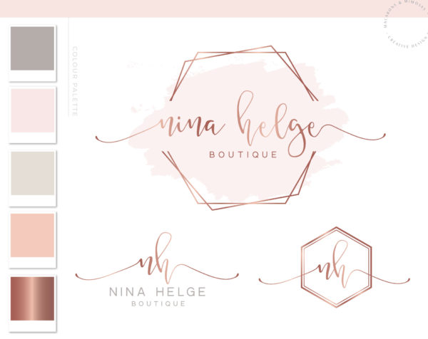 Hexagon Event Logo, Watercolor Logo Design, Rose Gold Logo , Branding kit, Calligraphy, Branding Package, Photography Logo, Watermark