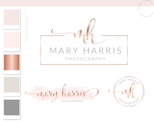 Rose Gold Watercolor Logo, Photography Logo, Branding Kit, Wedding Photographer, Photography Logo, Logos, Logo Design custom, Business Card