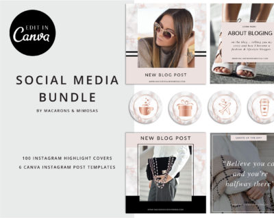 Instagram Story Highlights Icons, Rose Gold Marble Instagram Story Template Bundle, Instagram Highlights, Fashion, Beauty, Lifestyle