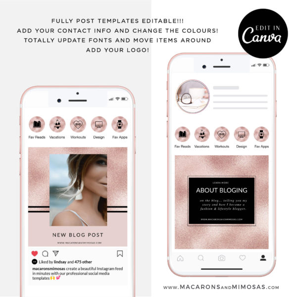 Instagram Story Highlights Icons, Rose Gold Glitter Instagram Story Template Bundle for Canva, Instagram Highlights, Fashion, Beauty, Lifestyle