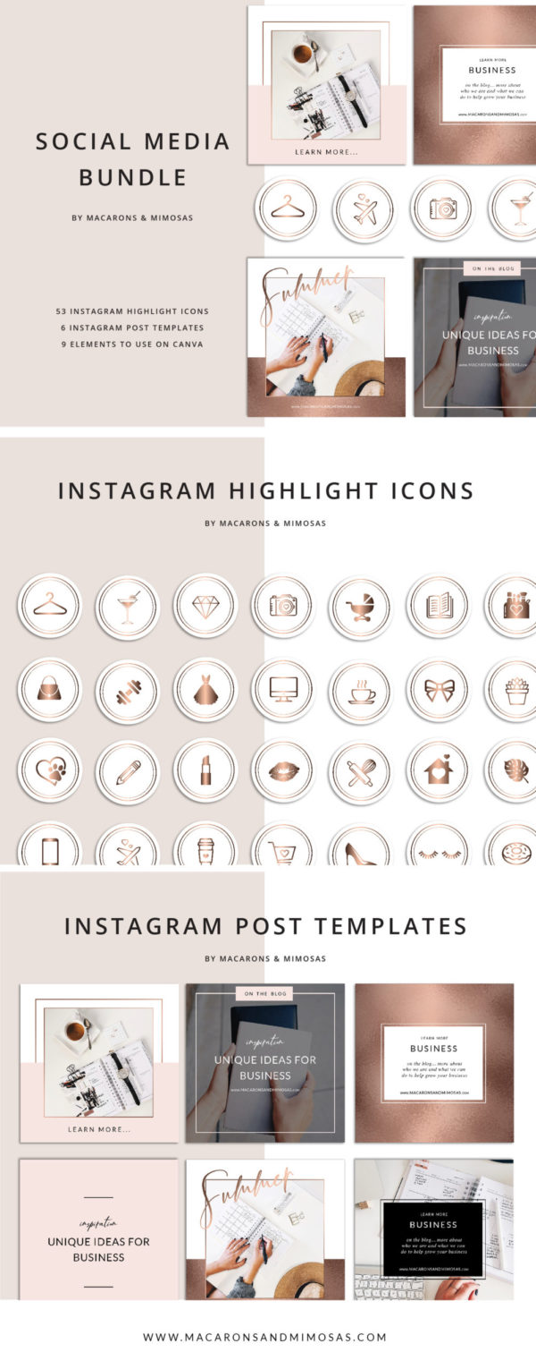 52 Instagram Story Highlights Icons, Rose Gold Marble Instagram Story Template Bundle, Instagram Highlights, Fashion, Beauty, Lifestyle