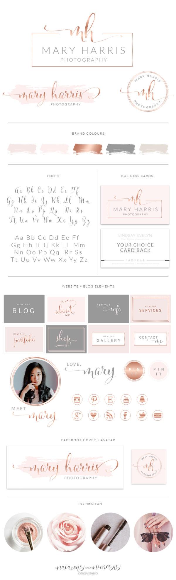 Rose Gold Watercolor Logo, Photography Logo, Branding Kit, Wedding Photographer, Photography Logo, Logos, Logo Design custom, Business Card