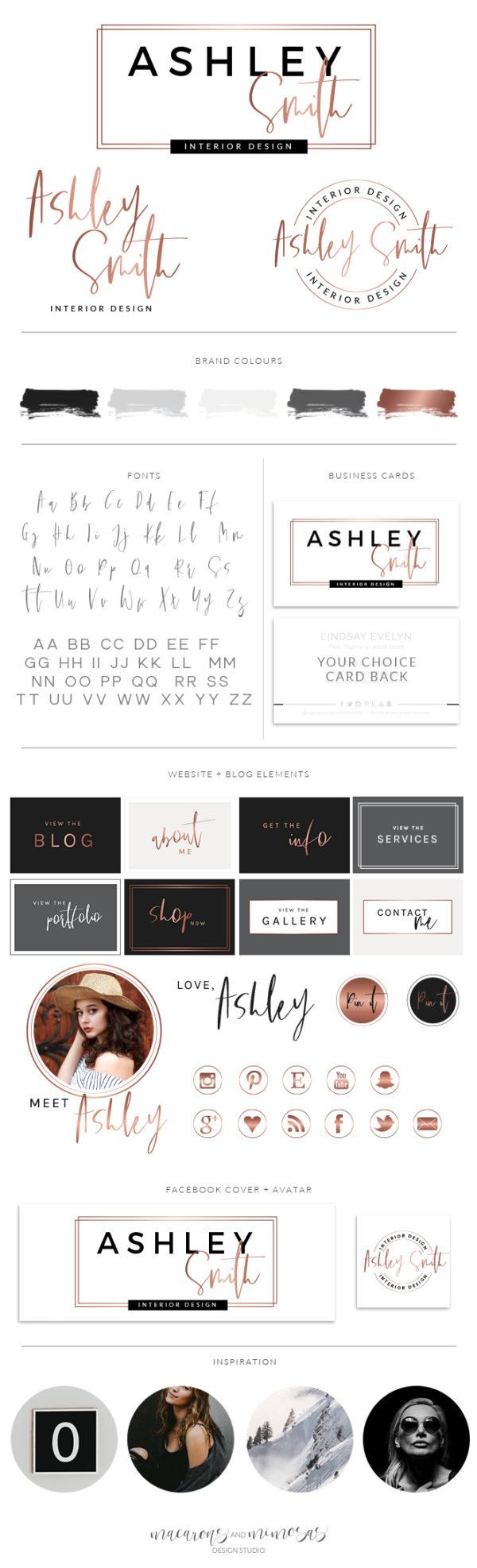 Logo Branding Kit, Photography Logo, Mini branding kit, Logo design, Premade logo, Watermark logo, Logos, Branding Package, Bronze Logo