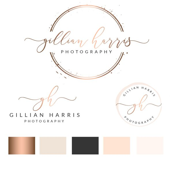 Photography Logo, Watercolor Logo, Logo design, logo, Premade logo, Branding kit, Rose Gold Logo, Watermark Logo, Stamp, Salon Logo