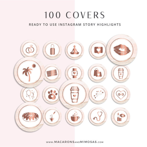 106 Instagram Story Highlights Icons, Rose Gold Watercolor Canva Instagram Template Bundle, Instagram Highlights, Fashion, Beauty, Lifestyle