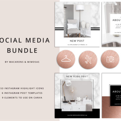 53 Instagram Story Highlights Icons, Rose Gold Marble Instagram Story Template Bundle, Instagram Highlights, Fashion, Beauty, Lifestyle