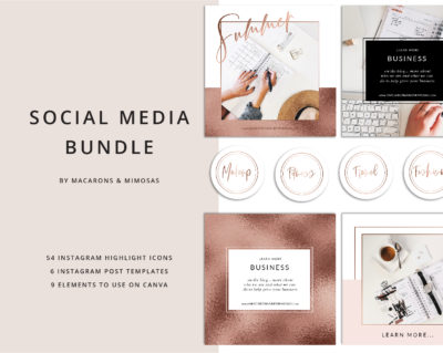 54 Instagram Story Highlights Icons, Rose Gold Marble Instagram Story Template Bundle, Instagram Highlights, Fashion, Beauty, Lifestyle