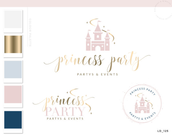 Castle Logo Design, Slumber Party Brand, Fairy Princess Party Logo, Kids Event Planner Logo, Party Decoration Logo, Children's Branding Kit
