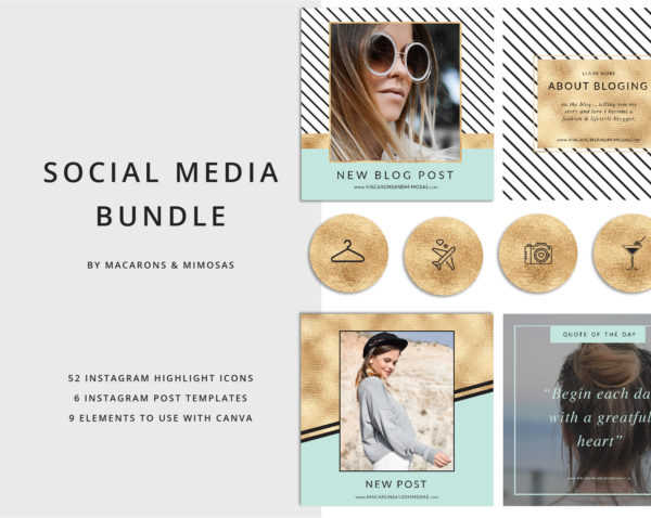 52 Aqua Mint Gold Instagram Story Highlights Icons, Yellow Gold Instagram Story Template Bundle, Instagram Highlights, Fashion, Beauty, Lifestyle