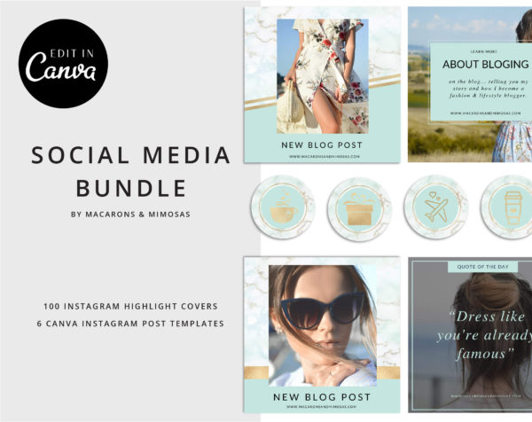 106 Instagram Story Highlight Icons, Aqua Mint Gold Marble Instagram Story Template Bundle, Instagram Highlights, Fashion, Beauty, Lifestyle