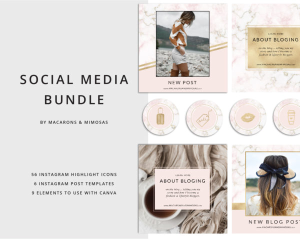 56 Blush Pink Marble Instagram Story Highlights Icons, Rose Gold Marble Instagram Story Template Bundle, Instagram Highlights, Fashion, Beauty, Lifestyle