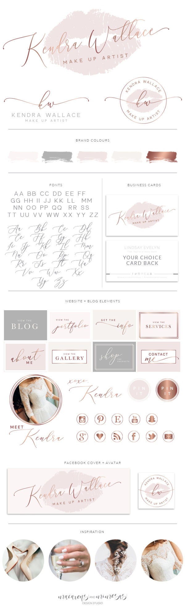 lips Logo, Rose Gold lips kiss Branding Set, Stamp Watermark, Beauty Salon Boutique, Make up Artist, Marketing Kit, Makeup Logo Design