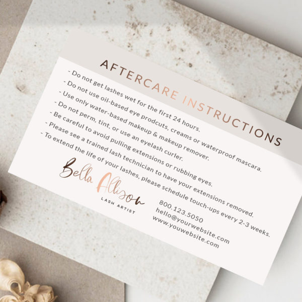 After Care Cards for Lash Artist and Beauty Salons by Macarons and Mimosas