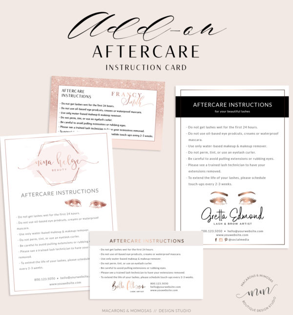 Lash Aftercare card design, brow aftercare card, lipsense aftercare card, lash instruction card, spray tan aftercare card