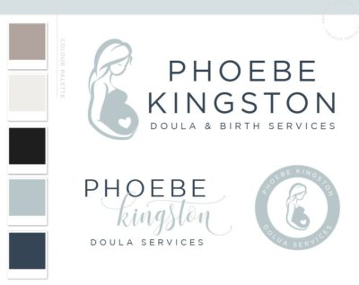 Doula Blue Logo Design, Birth Services Logo, Pregnant Woman Silhouette, Birth Logo Design, Doula Business, Birth Center Logo, Premade Logo, Baby Logo Doula Logo Birth Logo Newborn Logo, Midwife Logo, Newborn Photography Birth Photography