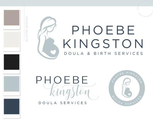 Doula Blue Logo Design, Birth Services Logo, Pregnant Woman Silhouette, Birth Logo Design, Doula Business, Birth Center Logo, Premade Logo, Baby Logo Doula Logo Birth Logo Newborn Logo, Midwife Logo, Newborn Photography Birth Photography