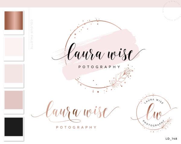 Feather Logo Design, Rose Gold Logo Design, Premade Logo Branding kit, Photography Logo Watermark, Blog Header, Confetti Business Logo Kit