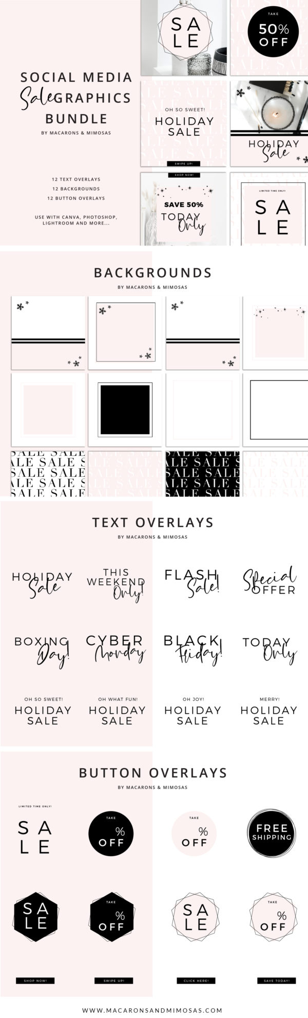 Sale Banners Instagram, Sale Post Graphics Instagram, Shop Graphics Instagram, Black Friday Graphic Instagram Template, Blush Pink Instagram Template