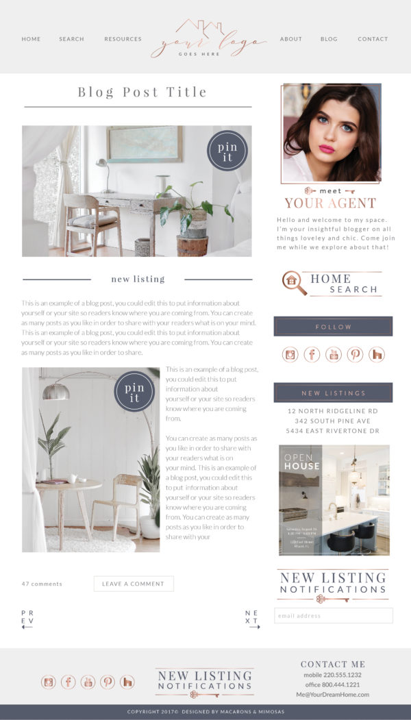 Real Estate Website, Real Estate Branding, Rose Gold Real Estate Branding, Real Estate Kit, Realtor Website, Agent Website Design, Home Agent Branding Kit, Real Estate Agent Branding