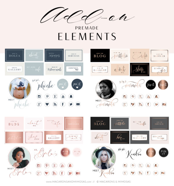 Website Kit, website elements, blog buttons, blog design kit, blog add on kit