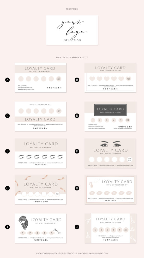 blush rose gold loyalty card, Heart Beauty Salon Loyalty Card, LipSense / Makeup Artist Business Card Loyalty Card