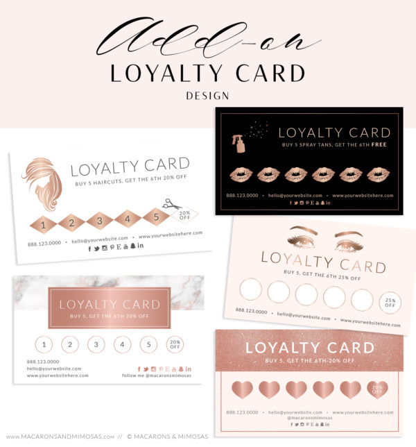 blush rose gold loyalty card, Heart Beauty Salon Loyalty Card, LipSense / Makeup Artist Business Card Loyalty Card
