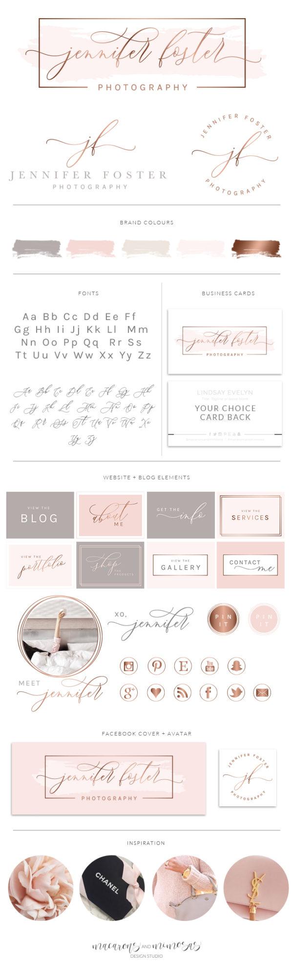Premade Logo Sets, pink watercolor premade logo, gold blush pink branding board, Branding Kit Template, Photography Logo, Photographer Logo, Branding Kit, Rose Gold Logo,