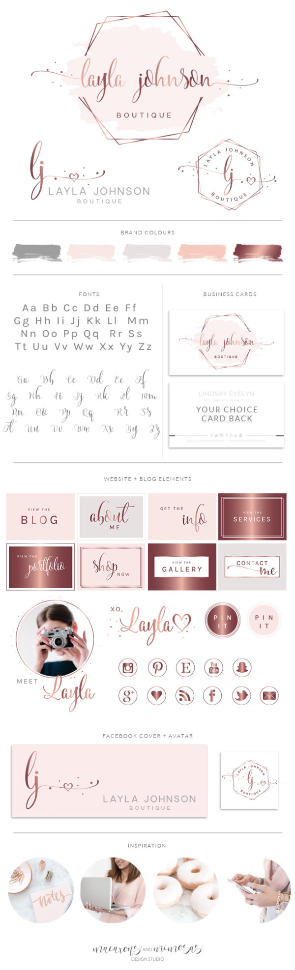 Heart Logo Design, Watercolor Logo Design, Rose gold Branding kit, Photography logo, Watermark, Premade Branding Package, Custom Logo Design, Branding kit