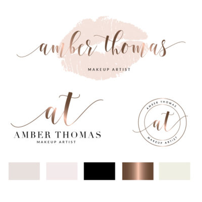 Makeup Logo Design, Lips Logo, gold Branding kit, Make up Branding Package, Boutique logo, Lip sense Logo watermark, lips