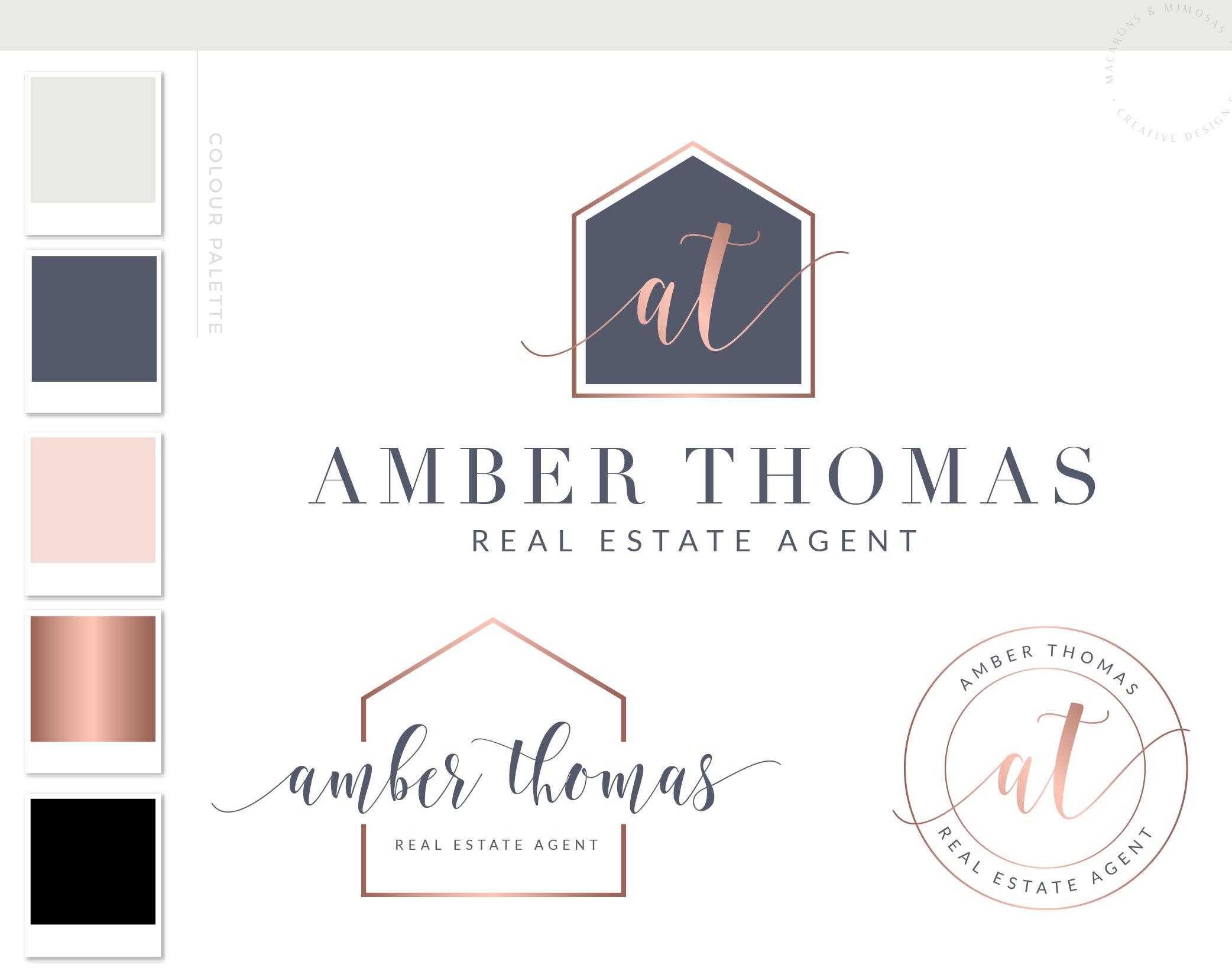 Amber Thomas Logo Package • Macarons and Mimosas