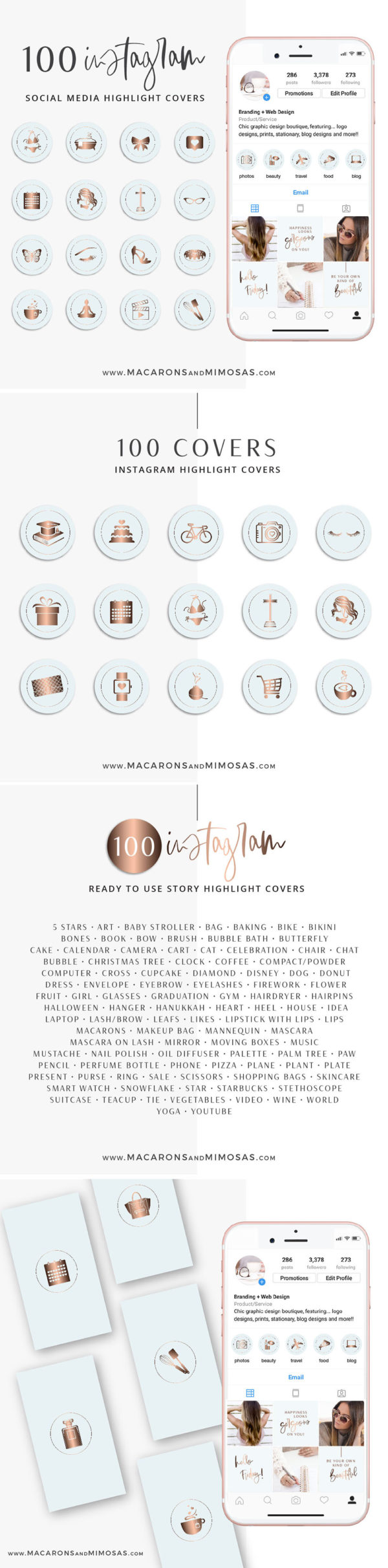 Rose Gold Blue Instagram Highlight Covers, Light Blue Highlight Icons, Rose gold Instagram Covers, Gold and Blue IG covers