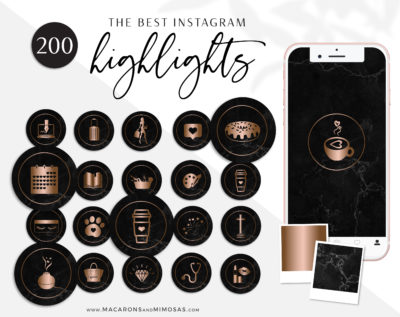 Rose Gold Instagram Highlight Covers, Black Marble Highlight Icons, Instagram Covers, gold and black IG covers