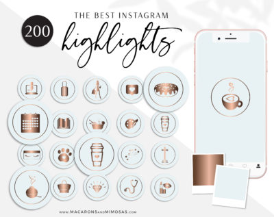 200 Baby Blue Mint Rose Gold Instagram Highlight Cover Icons, Beauty Instatgram Covers, Instagram Story Covers