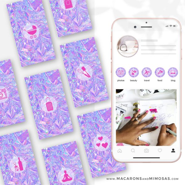 Pink Neon Holographic Instagram Icons, Holographic Instagram Highlights, Pink neon Instagram Covers