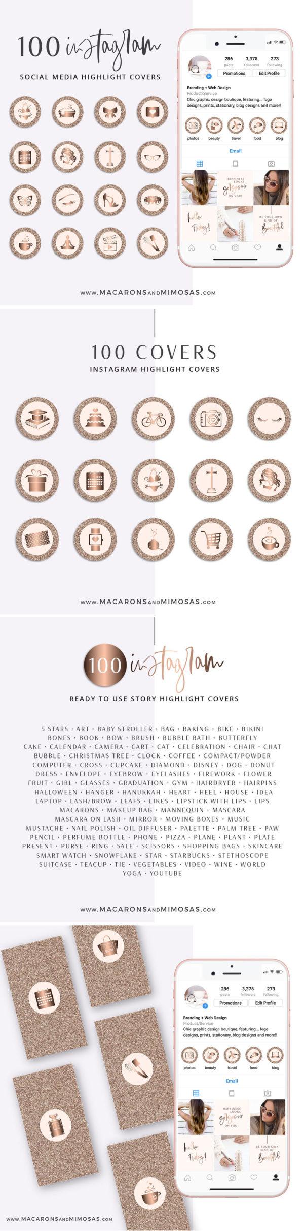Rose Gold Glitter Instagram Highlight Covers, Blush Pink Highlight Icons, Rose gold Instagram Covers, Gold Glitter and Blush Pink IG covers