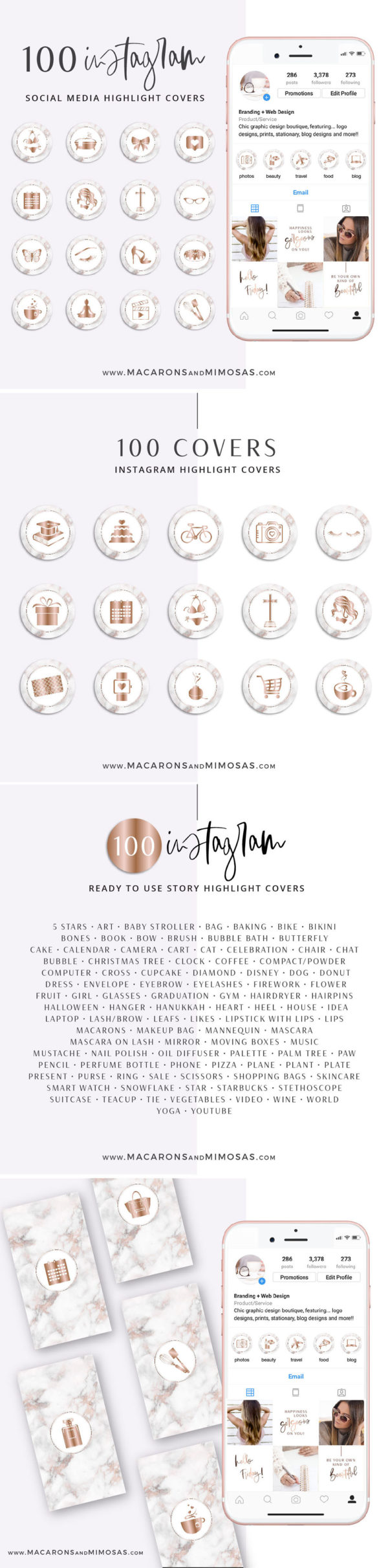100 Instagram Story Highlights Icons, Rose Gold Marble Instagram Story Template Bundle, Instagram Highlights, Fashion, Beauty, Lifestyle