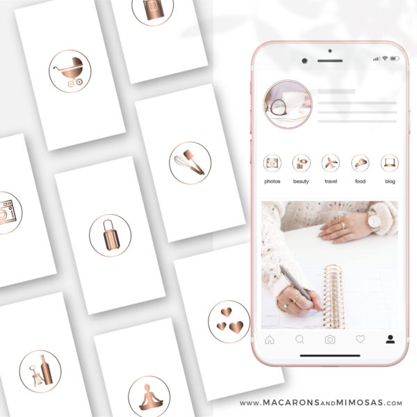 Rose Gold Instagram Highlight Covers, Blush Pink Highlight Icons, Rose gold Instagram Covers, Gold Glitter and Blush Pink IG covers