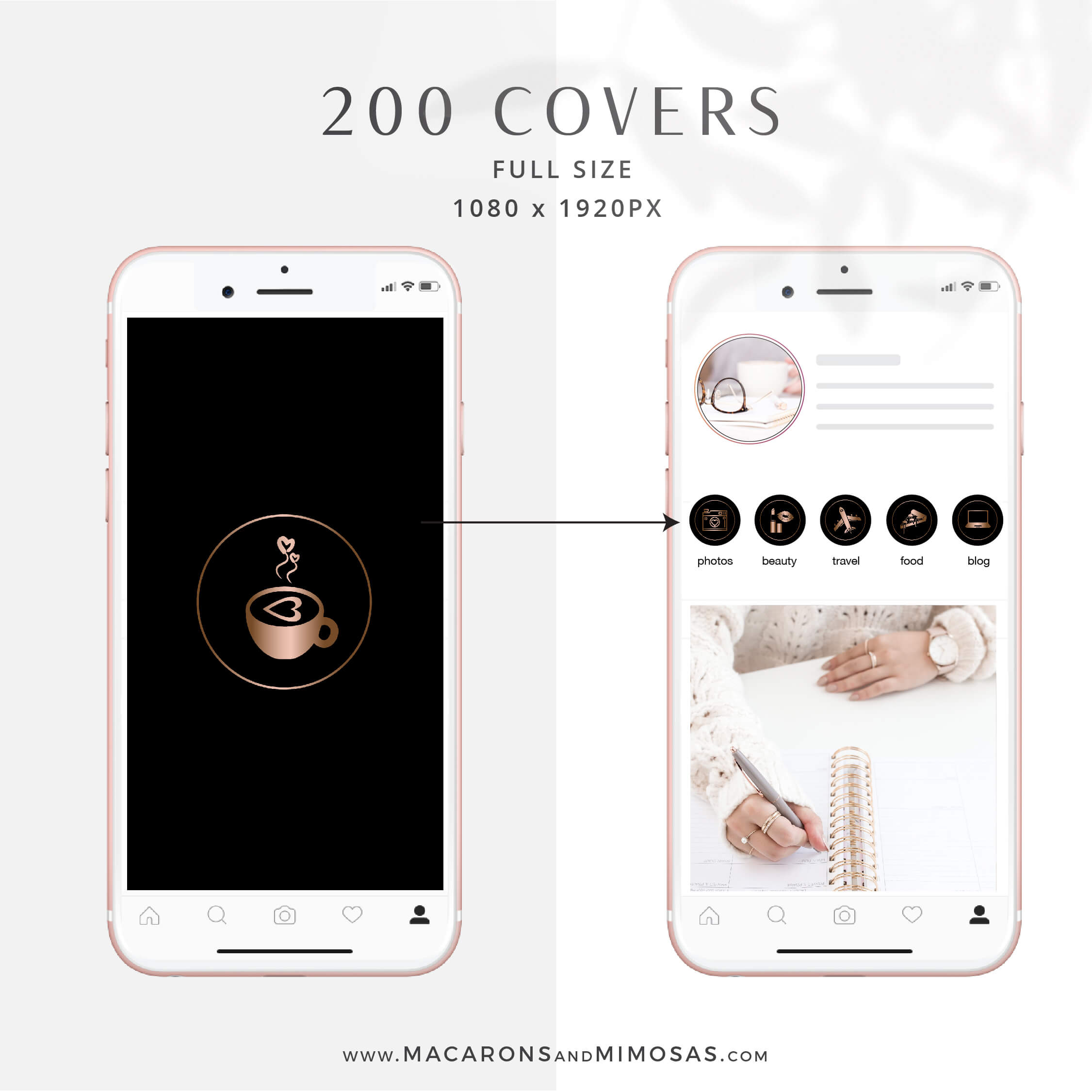Black Marble Rose Gold Instagram Covers Macarons And Mimosas