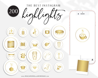 Yellow Gold White Instagram highlight Icon Covers, Blush Pink Icons for Fashion, Beauty and Lifestyle Bloggers and Businesses