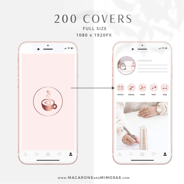 Rose Gold Pink Instagram Highlight Covers, Blush Pink Highlight Icons, Rose gold Instagram Covers, Gold Glitter and Blush Pink IG covers