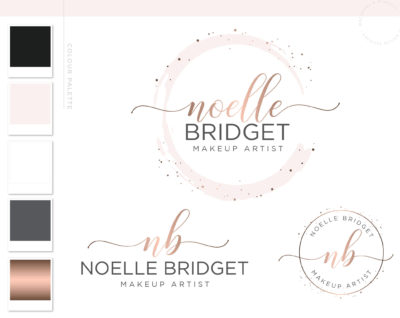 Pink and Rose Gold Circle Watercolor Premade logo with Confetti Dots by Macarons and Mimosas