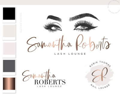 Lash Artist Watermark Logo in Rose Gold for salons and beauty consultants by Macarons and Mimosas
