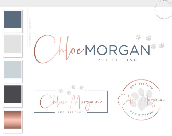 Dog and Cat Pet Sitting Logo Design with Paw Print in Vector by Macarons and Mimosas