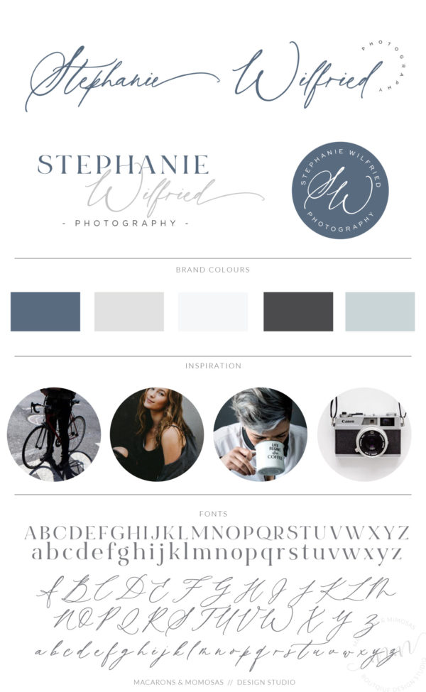 Blue Premade Logo Design with Calligraphy Font by Macarons and Mimosas