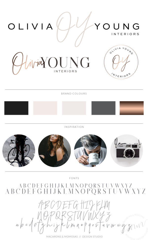 RoseGold Premade Logo Design with Handwritten Script font initials by Macarons and Mimosas