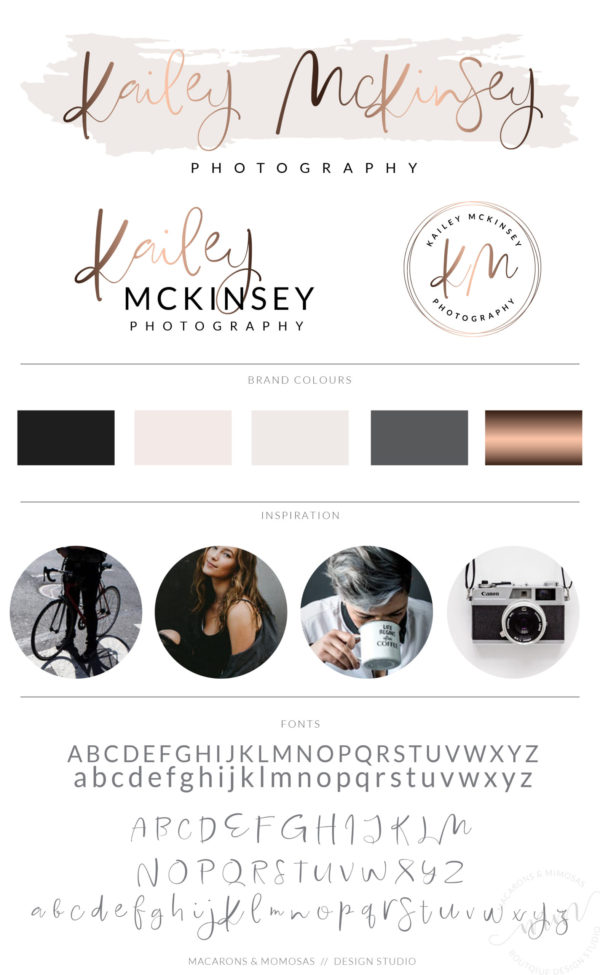 Rosegold Handwritten watercolor logo design for photography business by Macarons and Mimosas